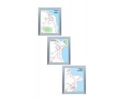 Whitby, Scarborough, Filey and Bridlington set Brushed Silver Frame