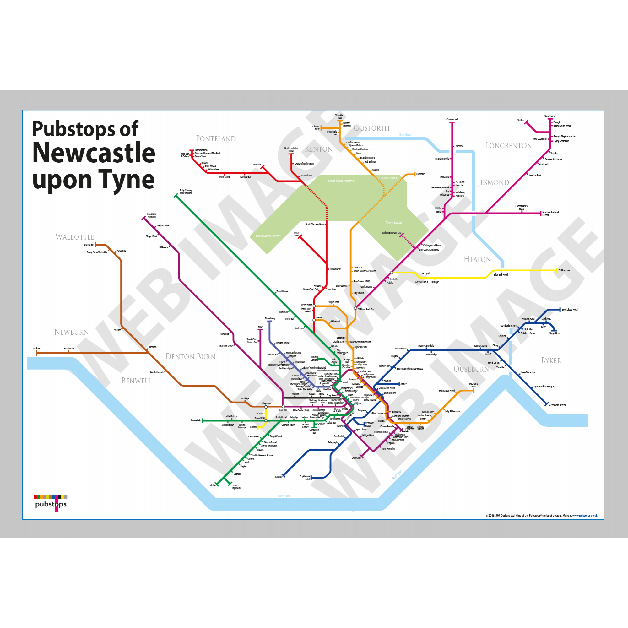 Map Of Uk Newcastle.Newcastle Upon Tyne Unframed
